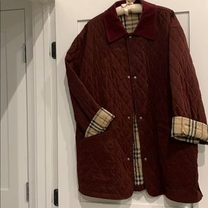 Burberry burgundy with Corduroy collar jacket